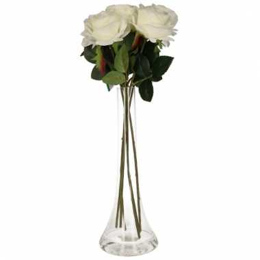 Tafeldecoratie 5 witte rozen in een vaas 45 cm