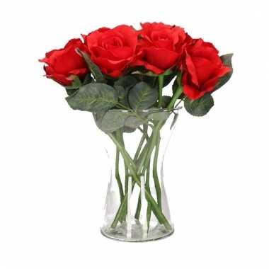 Tafeldecoratie 8 rode rozen in een vaas 30 cm