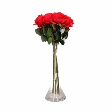 Tafeldecoratie 8 rode rozen in een vaas 45 cm