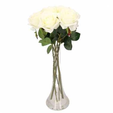 Tafeldecoratie 8 witte rozen in een vaas 45 cm