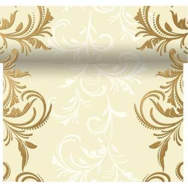 Tafeldecoratie creme tafelloper met barok print 480 x 40 cm