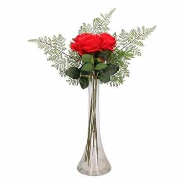 Tafeldecoratie rode rozen in een vaas 58 cm