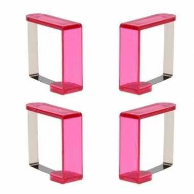 Tafelkleedklemmen roze 8 stuks
