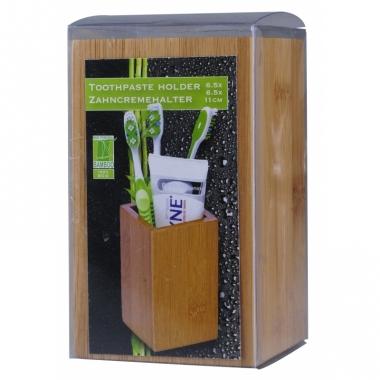 Tandpastahouder van gecarboniseerd bamboe 11 cm