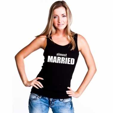 Tanktop almost married dames zwart
