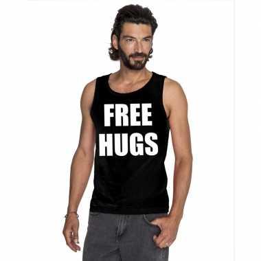Tanktop free hugs heren zwart