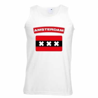 Tanktop wit amsterdam vlag wit heren