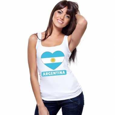Tanktop wit argentinie vlag in hart wit dames