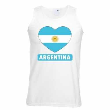 Tanktop wit argentinie vlag in hart wit heren