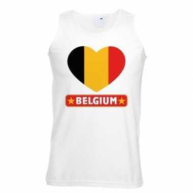 Tanktop wit belgie vlag in hart wit heren
