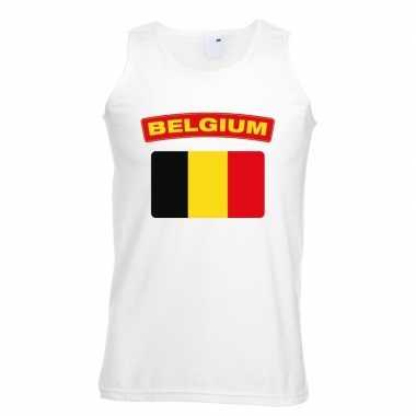 Tanktop wit belgie vlag wit heren