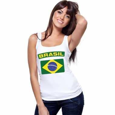 Tanktop wit brasilie vlag wit dames
