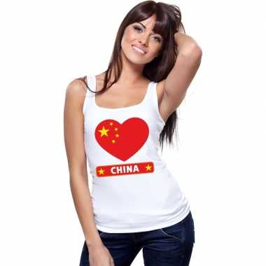 Tanktop wit china vlag in hart wit dames