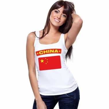 Tanktop wit china vlag wit dames