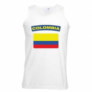 Tanktop wit colombia vlag wit heren