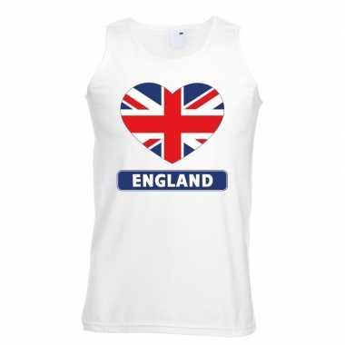 Tanktop wit engeland vlag in hart wit heren