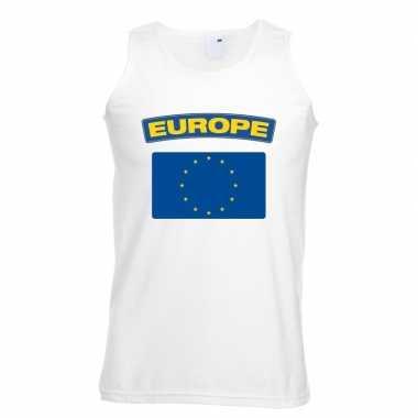 Tanktop wit europa vlag wit heren
