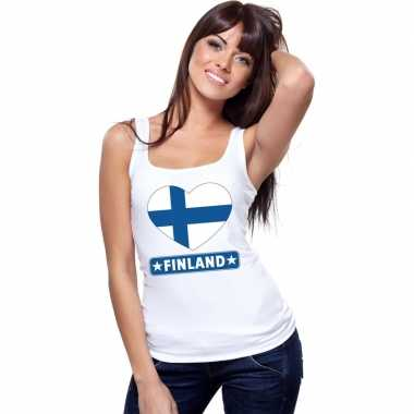 Tanktop wit finland vlag in hart wit dames