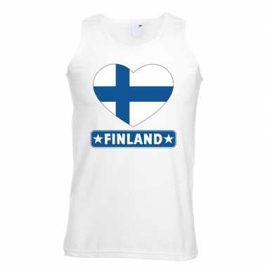 Tanktop wit finland vlag in hart wit heren