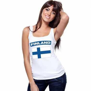 Tanktop wit finland vlag wit dames