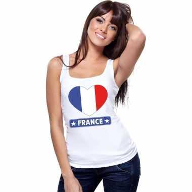 Tanktop wit frankrijk vlag in hart wit dames