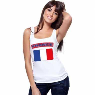 Tanktop wit frankrijk vlag wit dames