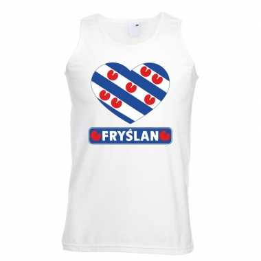 Tanktop wit friesland vlag in hart wit heren