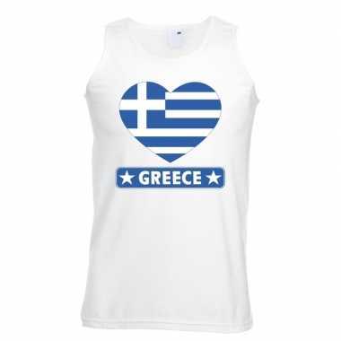 Tanktop wit griekenland vlag in hart wit heren