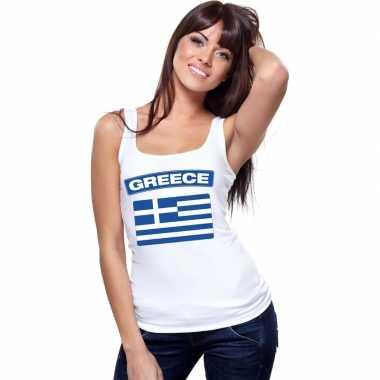 Tanktop wit griekenland vlag wit dames