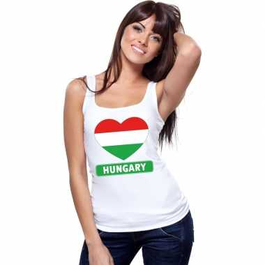Tanktop wit hongarije vlag in hart wit dames