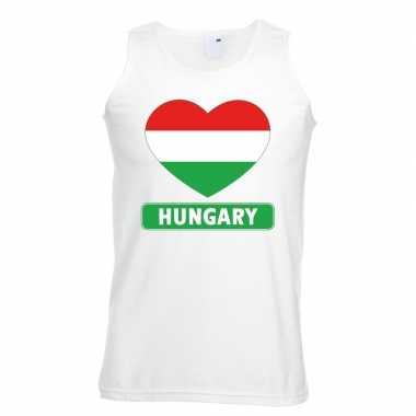 Tanktop wit hongarije vlag in hart wit heren