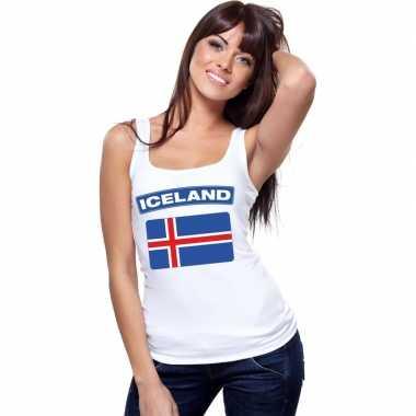 Tanktop wit ijsland vlag wit dames
