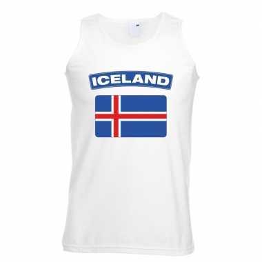 Tanktop wit ijsland vlag wit heren