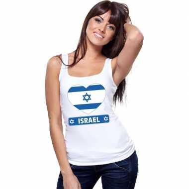 Tanktop wit israel vlag in hart wit dames
