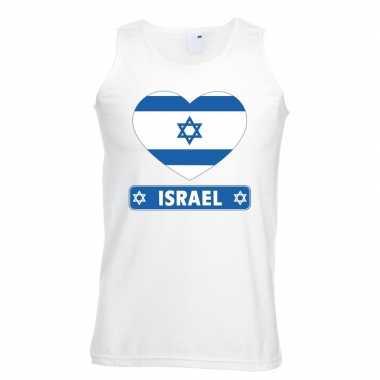 Tanktop wit israel vlag in hart wit heren