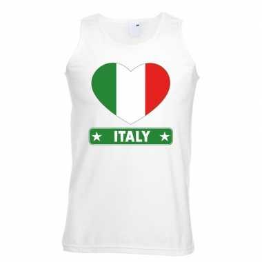 Tanktop wit italie vlag in hart wit heren