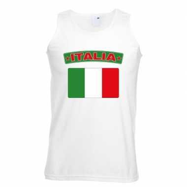 Tanktop wit italie vlag wit heren