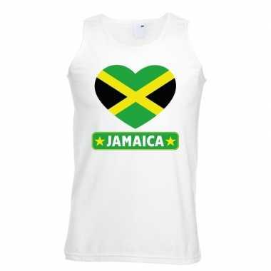 Tanktop wit jamaica vlag in hart wit heren