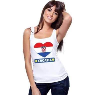 Tanktop wit kroatie vlag in hart wit dames