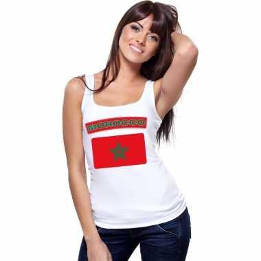 Tanktop wit marokko vlag wit dames