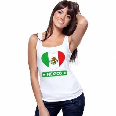 Tanktop wit mexico vlag in hart wit dames
