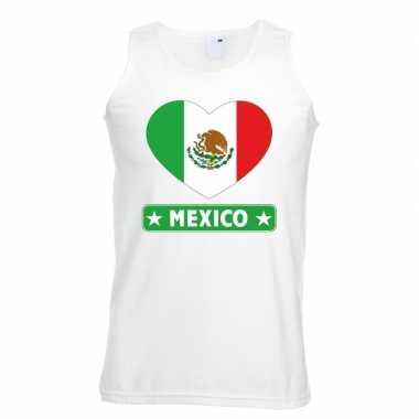 Tanktop wit mexico vlag in hart wit heren