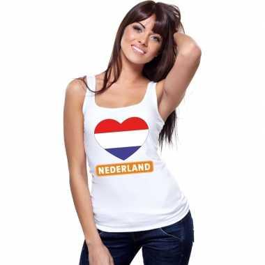 Tanktop wit nederland vlag in hart wit dames