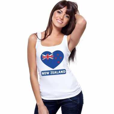 Tanktop wit nieuw zeeland vlag in hart wit dames
