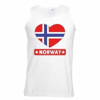 Tanktop wit noorwegen vlag in hart wit heren
