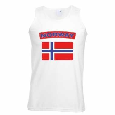 Tanktop wit noorwegen vlag wit heren