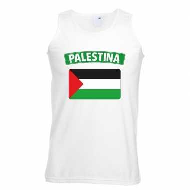 Tanktop wit palestina vlag wit heren
