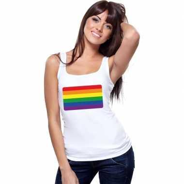 Tanktop wit regenboog vlag wit dames