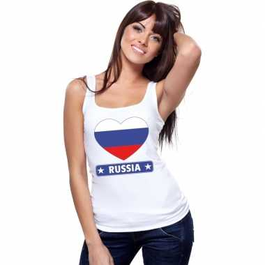 Tanktop wit rusland vlag in hart wit dames