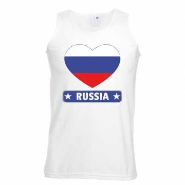 Tanktop wit rusland vlag in hart wit heren